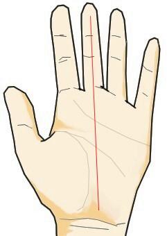 運命線が長く伸び中指の末端まで伸びる