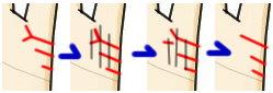 結婚線上に細かい縦線が生じている(行き遅れ線)とその変化の推移