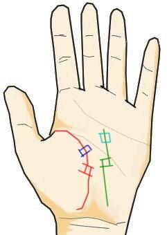手相と記号と四角